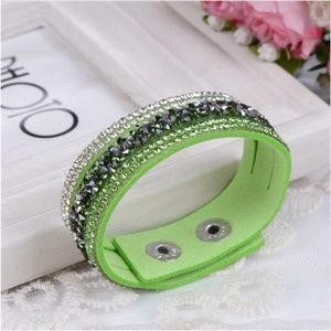 Jewelry - Crystal Studded Green Vegan Leather Wrap Bracelet